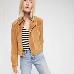 Free People Suede Jacket Moto Zipper Easy Fit S